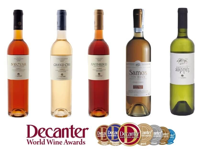 5 κρασιά του ΕΟΣ Σάμου διακρίθηκαν στον παγκόσμιο διαγωνισμό Decanter