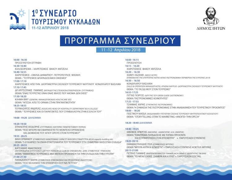 Το πρόγραμμα στο 1ο Συνέδριο Τουρισμού Κυκλάδων στην Ίο