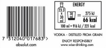 Alcoholic beverages: Caloric content and Digital Info on the labels